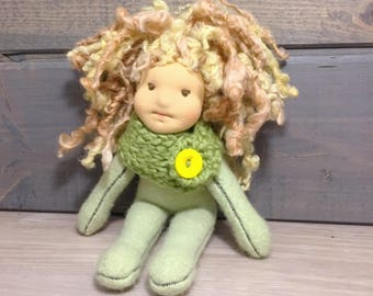 Natural fiber waldorf inspired cashmere doll