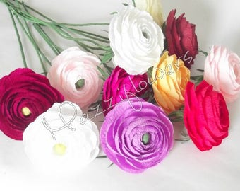 Wedding flowers,bridal flower ranunculus 10 pcs,paper flower bouquet,paper flowers,bridal flower,