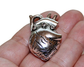 2 Large Heart Charms Antique Silver Tone 3D - CH182
