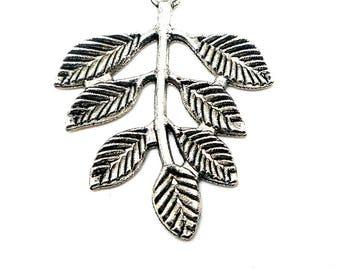 Large silver leaf charm