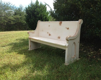 "62"" White Wooden Church Pew"