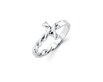 Best Seller! Silver Twisted Cross Ring, First Communion Gift, Confirmation Gift for Girl, Silver Cross Ring, baptism gift, Baby's First Ring