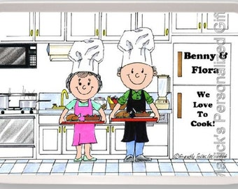 Personalized Cartoon - Chef - couple - Male and Female - Melamine Serving Tray 13 x 9