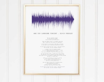 Portrait Sound wave Song with Lyrics Personalised Print