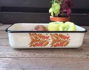 Soviet Vintage White Enamel Box, Enamel Tray, Ashberry Decor, Rowan Decor,  Enamel Container, Food storage.