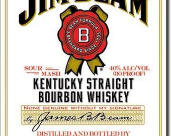 Jim Beam White Label Metal Tin Advertising Sign Bar Pub Man Cave Restaurant Decor Made In USA