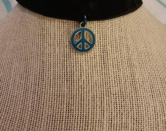 Black choker with peace charm