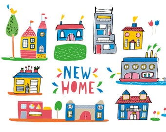 new home card or mini print, moving home card, houses illustration print, houses artwork