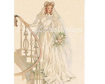 Wedding 12 Beautiful Bride on a Staircase a Digital Image from Vintage Greeting Cards - Instant Download