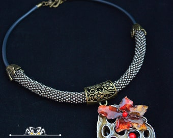 """Necklace """"Harmony of lotus and Orchids"""""""