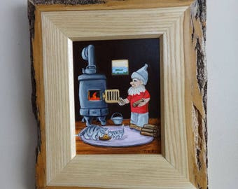 "Framed Original Oil Painting, Woodland Gnome, ""Another Log on the Fire""."