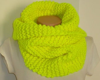 Chunky knit neon yellow knite scarf / Knit scarf / knitted scarf/neon yellow scarf/ neon knit snood / scarf/ neon yellow knit scarf