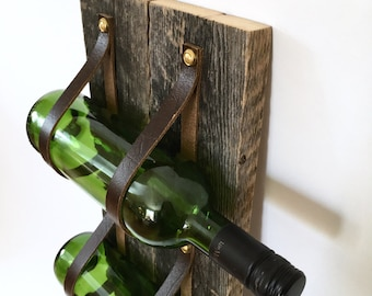 Barn wood and recycled leather Wine Rack - three bottle holder and magazine rack MWR61