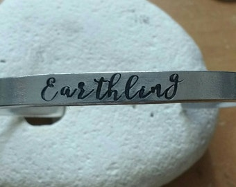 Earthling meditation motto bracelet adjustable -handstamped