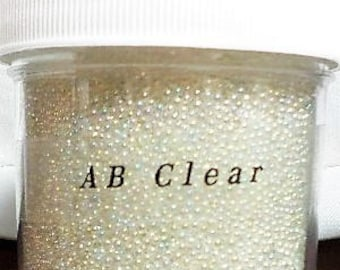 AB Clear 30g Jar - Glass Microbeads, Fairy Beads, Caviar Beads, Crafting, Resin, Nails, Scrapbooking, NO HOLE