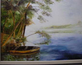 Lake in the mist painting has oil knife
