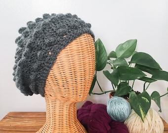 Crochet Bubble Beret in Charcoal Grey