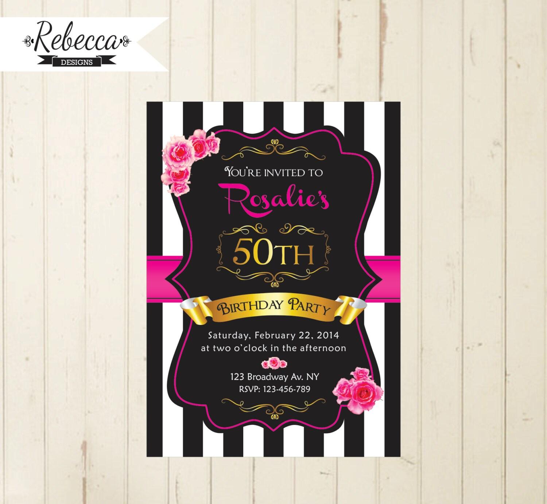 black white and pink woman birthday invitation 21st birthday