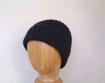 Knit Cashmere Hat, Black, Beanie Watch Cap, Luxury, Gift for Him or Her, Lightweight Hat Men Women