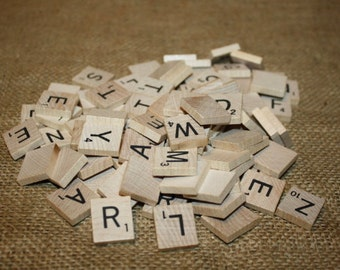 100 Wood Scrabble Tiles - item #1120