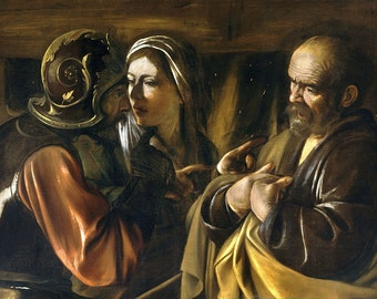 Caravaggio: The Denial of Saint Peter. Fine Art Print/Poster. (002072)