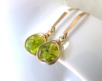 Peridot Earrings, Green Earrings, Gold Earrings, Natural Peridot Gemstone Earrings, August Birthstone Earrings, Green Gold  - Little Green