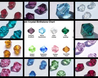 144 Swarovski Crystal Beads 6mm BICONE 5328 Crystal Beads BIRTHSTONE SET