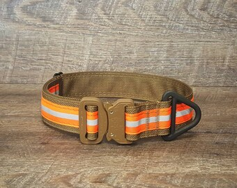 "Reflective 1.5"" Bunker Gear-style Collar with AustriAlpin Cobra buckle; handmade in America by Rogue K9 LLC"
