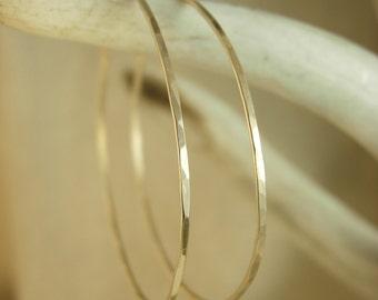 Hammered Gold Hoops - Delicate Gold Hoops - Hoop Earrings