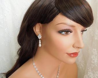 Bridal Rhinestone Earrings Pearl Earrings Wedding Pearl Earrings Swarovski Crystal Pearl Wedding Bridal Earrings Bridal Stud Earrings  JAY