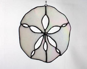 Stained Glass Sand Dollar Suncatcher, White Iridescent, Beach Decor, Glass Art, Mermaid Gift