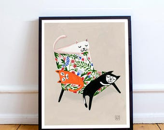 Poster with cats, Print, Cats, Cat, Print for cat's lovers, Cats on a chair, Art print with cats, Cat's lovers, Art, Poster, Print