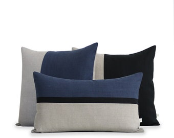 Navy and Black Colorblock Pillow Cover Set of 3: Decorative Pillows by JillianReneDecor, Modern Home Decor, Striped Horizon Line, Masculine