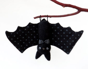 Bat plush Needle felted animal ornament with stripe bow tie, gray dot wing, fall decor, cute goth, Halloween figurine