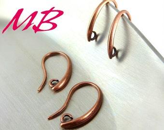 12 pcs Antique Copper Ear Wires, Fish Hook
