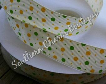 3 yards of 7 / 8 inch green and yellow polka dot grosgrain ribbon