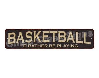 Basketball Arched Vintage Look Chic Metal Sign 4x18 4180012
