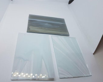 3 Pieces Streaked White and Grey Stained Glass