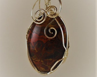 Poppy Jasper pendant necklace with Sterling Silver wire wrap. P300