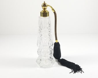 "Vintage 7"" Tall Perfume Bottle with Black Atomizer."
