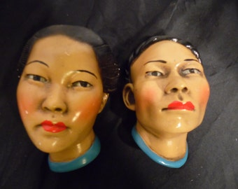 Vintage Asian Japanese Bust Male  Female Wall Hanging Art  Life Like