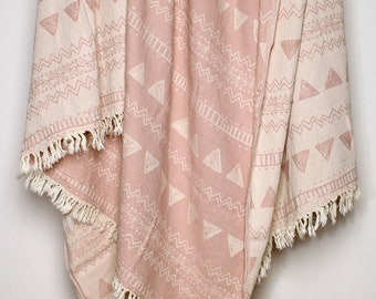 Rose Throw Blanket - Dusty Pink Blanket - Geometric Ornaments Coverlet - Boho Bedding - Pale Pink Large Beach Blanket - Mother's Day Gift
