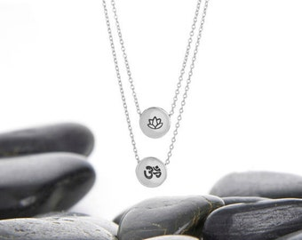 Ohm, OM, Lotus, Lotus Flower, Necklace, Jewelry, Ohm Necklace, Lotus Necklace, OM Necklace, House of Metalworks, Layer Necklace, Yoga, Gift