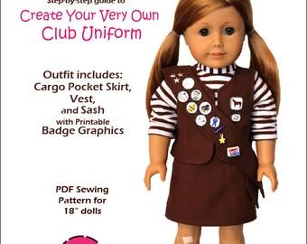 Pixie Faire Peppermintsticks Club Uniform Doll Clothes Pattern for 18 inch AG Dolls - PDF