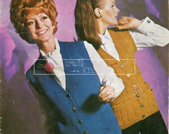 Lady's Waistcoats 4ply DK 34-44in Bellmans 1112 Vintage Knitting Pattern PDF instant download