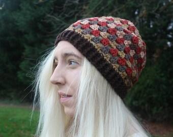 Autumnal Granny Stripes Beanie Hat // Brown Red Beige Grey // Handmade Crochet