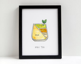 Cocktail Diagram Print - Mai Tai