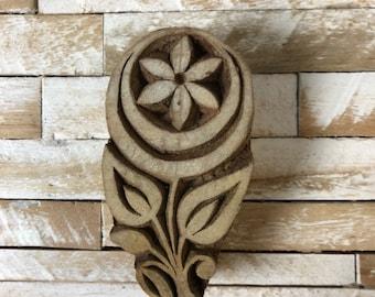 Vintage Wood Printing Block Stamp Made in India Floral/Flower Design (#7)