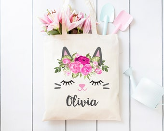 Personalized Cat Tote Bag, Kitty Cat with Flower Crown