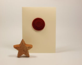 SALE! Ivory/Off White Card With Red Felt Circles Embellishment